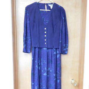Vintage Purple Floral Long Dress with Vest